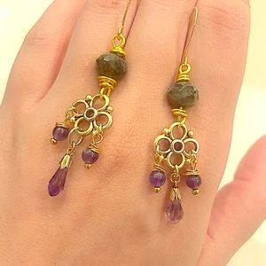 Amethyst and Moss Agate 22K Gold Filled Earrings